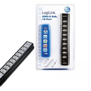 LogiLink 10 Port Hub, USB 2.0 actief Zwart